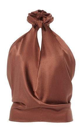 City Scape Knotted Silk Halterneck Top by Johanna Ortiz | Moda Operandi
