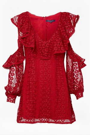 French Connection — Massey Lace V Neck Dress in Blazer Red
