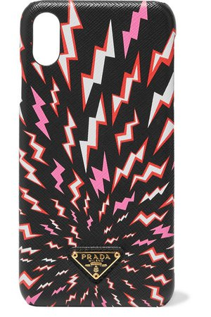 Prada | Printed textured-leather iPhone XS Max case | NET-A-PORTER.COM