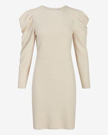 Cozy Puff Shoulder Shift Dress