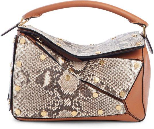 Puzzle Genuine Python & Leather Shoulder Bag