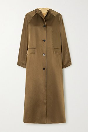Beige Reversible satin and cotton-blend coat | Kassl Editions | NET-A-PORTER