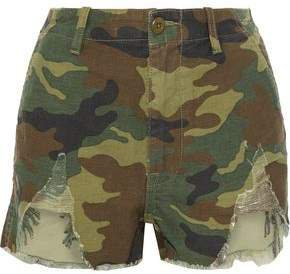 Distressed Printed Cotton-canvas Shorts