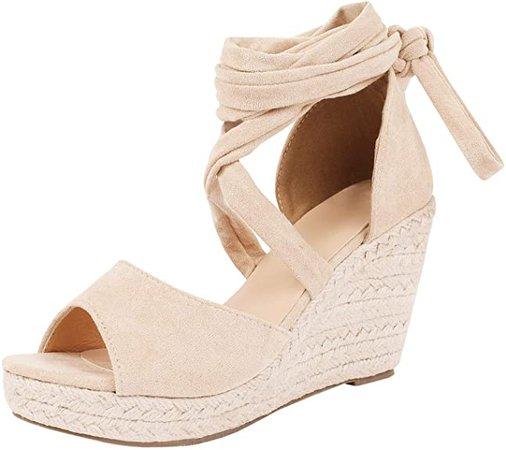 Amazon.com | Womens Open Toe Tie Lace Up Espadrille Platform Wedges Sandals Ankle Strap Slingback Dress Shoes | Platforms & Wedges