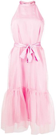 Tulle-Trim Belted Dress