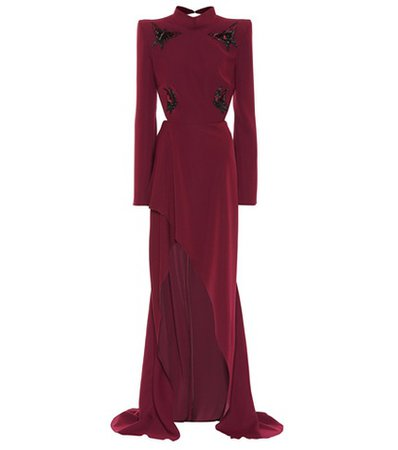 Embellished crêpe gown