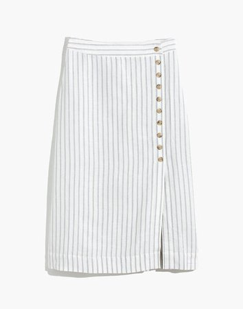 Side-Button Midi Skirt in Pinstripe