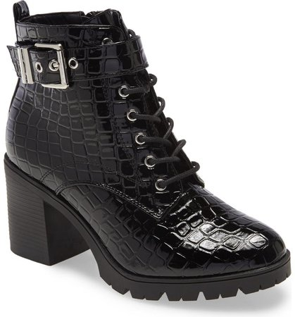 Topshop Broadway Croc Embossed Lace-Up Boot (Women) | Nordstrom