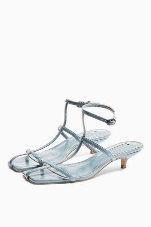 NIKA Blue Cage Mini Heels   Topshop
