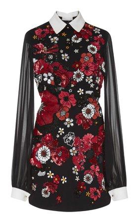 Collared Mini Dress by Elie Saab | Moda Operandi