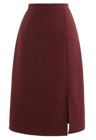 Side Slit Midi Pencil Skirt in Red - Retro, Indie and Unique Fashion