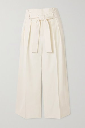 Cropped Belted Twill Wide-leg Pants - Ivory