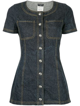 Shop blue Chanel Pre-Owned shortsleeved denim mini dress with Express Delivery - Farfetch