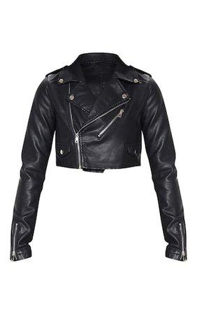 Black Leather Jacket-PrettyLittleThing