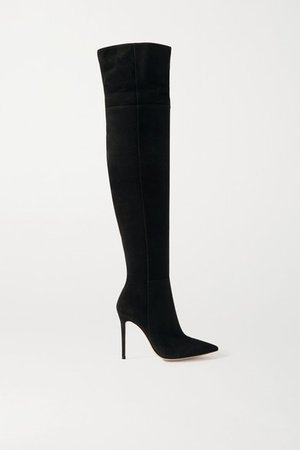 105 Suede Over-the-knee Boots - Black