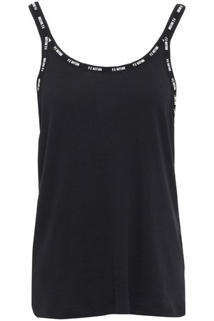 Black Ribbed cotton and modal-blend jersey tank | Sale up to 70% off | THE OUTNET | P.E NATION | THE OUTNET