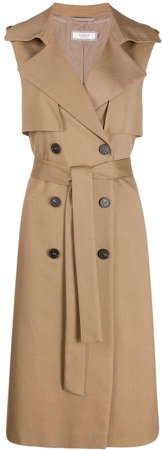 double-breasted trench gilet
