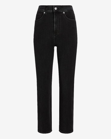 Super High Waisted 4-Way Hyper Stretch Black Straight Jeans