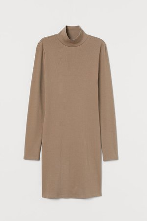 Fitted Ribbed Dress - Brown