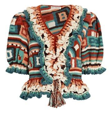 Ulla Johnson Iliana Crochet Knit Peplum Top | INTERMIX®