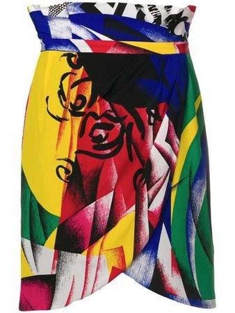 VERSACE high-waist printed skirt