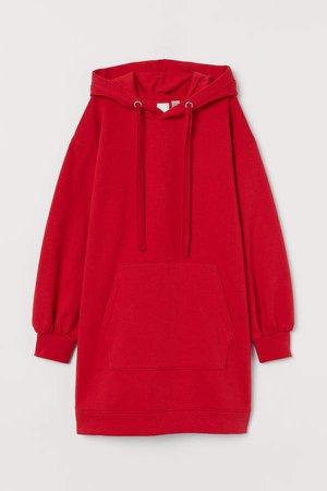 Long Printed Hoodie - Red