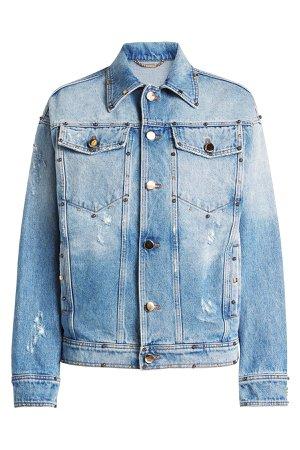 Embellished Denim Jacket with Printed Silk Gr. IT 42