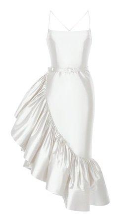 Ruffled Silk Midi Dress By Rasario Bridal | Moda Operandi