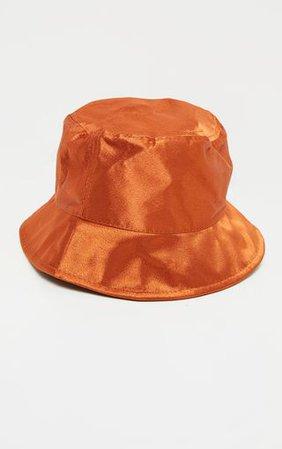 Rust Satin Bucket Hat   Accessories   PrettyLittleThing