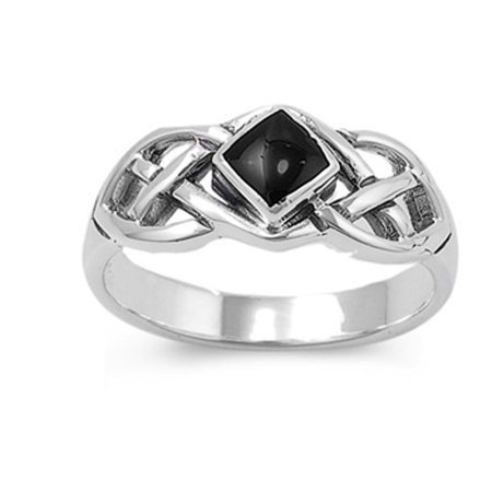 Sac Silver - Sterling Silver Women's Celtic Simulated Black Onyx Ring ( Sizes 3 4 5 6 7 8 9 10 11 12 13 ) Wholesale 925 Band 8mm Rings by Sac Silver (Size 13) - Walmart.com
