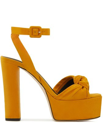 Yellow Giuseppe Zanotti Suede High Platform Sandals For Women | Farfetch.com