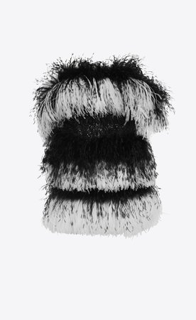 Saint Laurent Off The Shoulder Mini Tube Dress In Striped Feathers, Chainmail And Velvet  | YSL.com