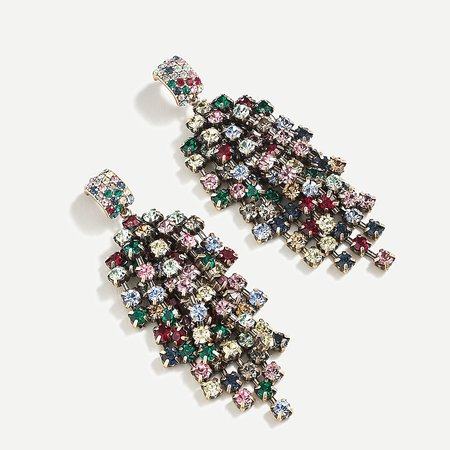 J.Crew: Waterfall Crystal Statement Earrings For Women