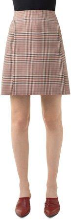 Glen Plaid Gabardine Skirt