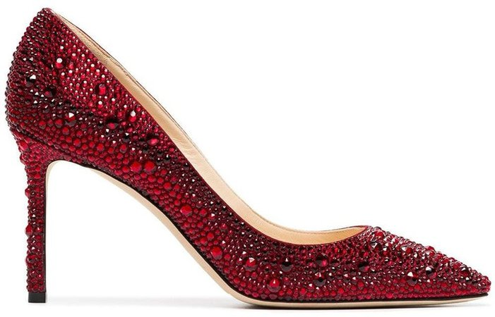Red Romy 85 Crystal Pumps