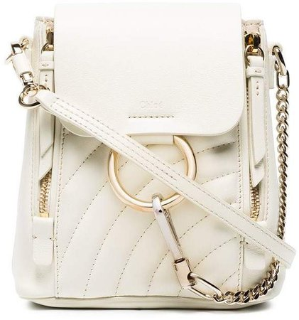 white mini Faye quilted backpack