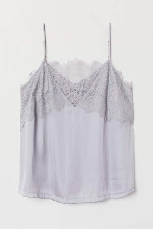 H&M+ Camisole Top with Lace - Gray
