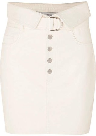 Fabra Leather Mini Skirt - Ecru