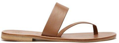 Alberta Leather Slide Sandals - Tan