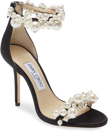 Maisel Imitation Pearl Embellished Ankle Strap Sandal