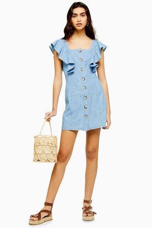 Ruffle Sleeve Horn Button Mini Dress | Topshop