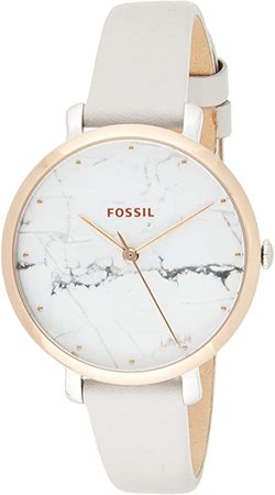 Fossil Women's Jacqueline Stainless Steel Analog-Quartz Watch with Leather Calfskin Strap, Grey, 14 (Model: ES4377): Watches