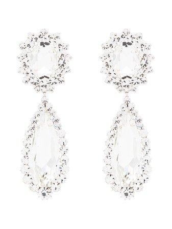 Alessandra Rich silver-tone Crystal Drop Earrings - Farfetch