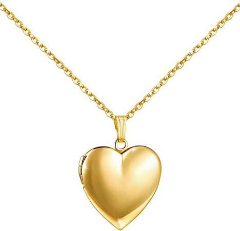 Amazon.com: YOUFENG Love Heart Locket Necklace That Holds Pictures Polished Lockets Necklaces Birthday Gifts for Girls Boys (Heart Gold Locket): Jewelry