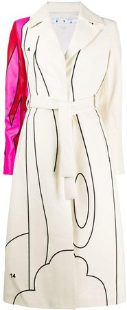 Off White graphic belted coat