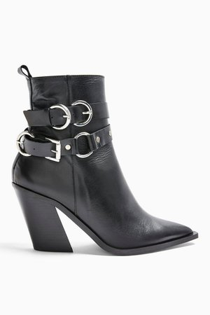 HADRIA Leather Black Western Boots | Topshop
