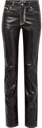 Cypress Coated High-rise Slim-leg Jeans - Black