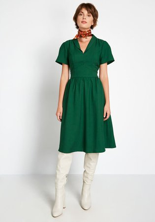 Green Short Sleeve Dress