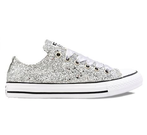 Womens Sparkly Silver Glitter Converse All Stars Sneakers