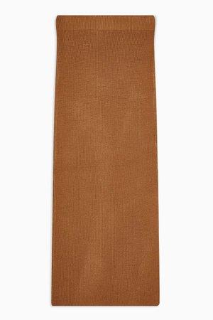 Camel Knitted Midi Skirt | Topshop